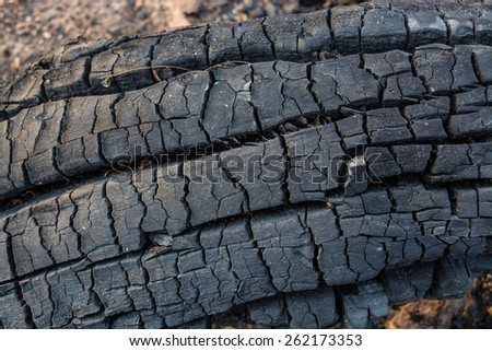charcoal in timber - stock photo