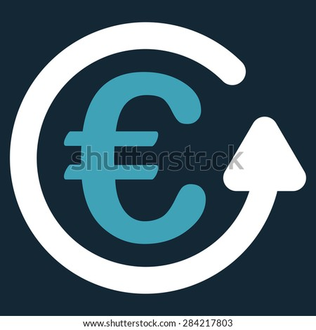 Chargeback from BiColor Euro Banking Icon Set. Glyph style: flat bicolor, blue and white symbol, rounded angles, dark blue background. - stock photo