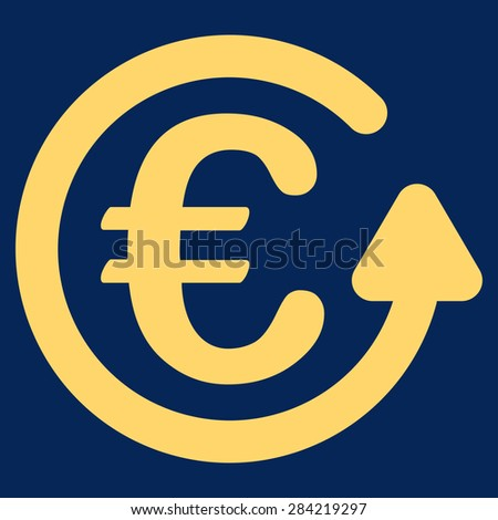 Chargeback from BiColor Euro Banking Icon Set. Glyph style: flat, yellow symbol, rounded angles, blue background. - stock photo