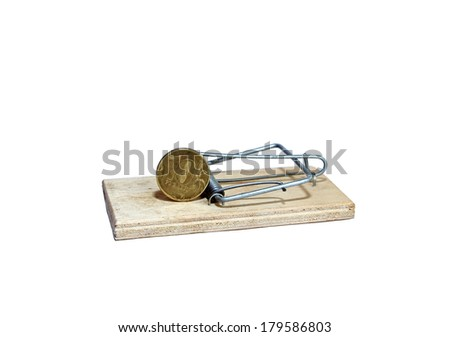 Charged mousetrap with bait in the form of copper coin isolated - stock photo