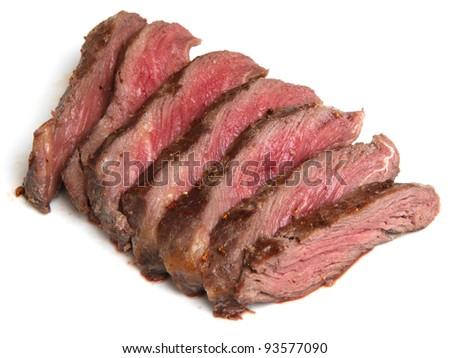 Chargrilled fillet steak sliced - stock photo