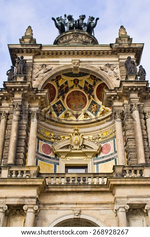 Chariot on Dresden opera building, Germany - stock photo
