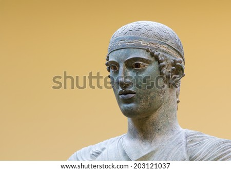 Charioteer of Delphi statue, close up head detail - stock photo