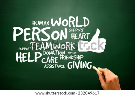 Charity and Help concept on blackboard, presentation background - stock photo