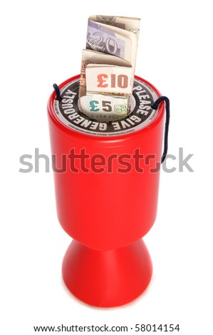Charity collection with sterling money studio cutout - stock photo