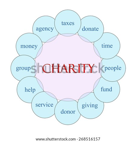 Charity concept circular diagram in pink and blue with great terms such as taxes, donate, time, people and more. - stock photo
