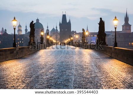 Charles Bridge at Dawn, Prague - stock photo