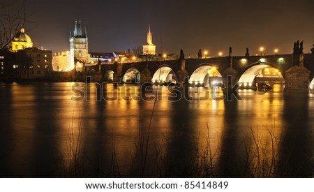 Charles Bridge at night, Prague, Czech Republic. - stock photo