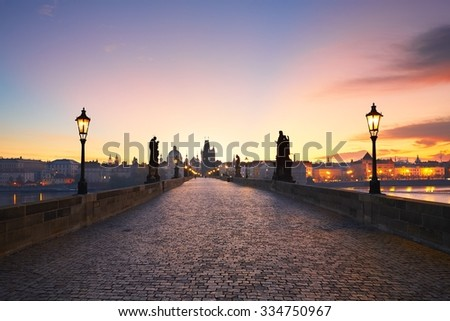 Charles Bridge at the sunrise, Prague, Czech Republic - stock photo