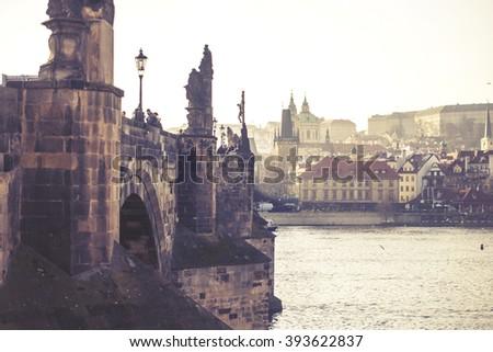 Charles Bridge, Czech Republic, vintage effect - stock photo