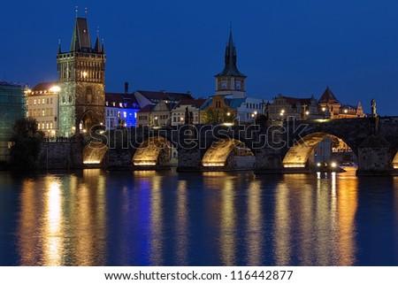 Charles Bridge in Prague at evening, Czech Republic - stock photo