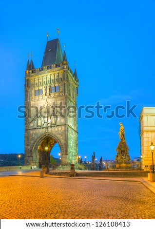 Charles bridge in Prague early in the morning - stock photo