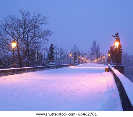 Charles bridge in winter, Prague, Czech Republic - stock photo