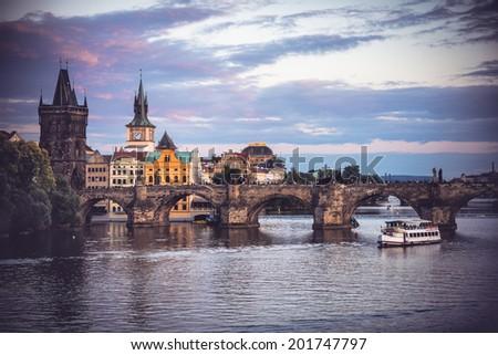 Charles Bridge (Stone Bridge, Karlov most, Prague Bridge, Prazhski most) over Vltava river in Prague, Czech Republic - stock photo