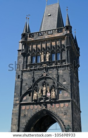 Charles bridge tower in Prague, Czech Republic. - stock photo