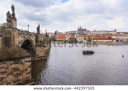 Charles Bridge,Vltava River and Prague Castle - stock photo