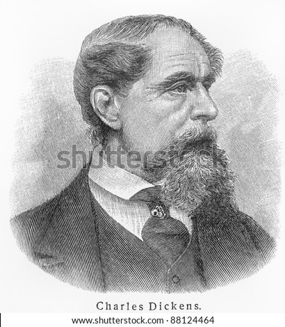 Charles Dickens - Picture from Meyers Lexicon books written in German language. Collection of 21 volumes published  between 1905 and 1909. - stock photo