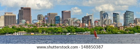 Charles River and Boston skyline from Cambridge, MA, USA - stock photo