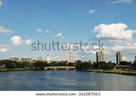 Charles river and Harvard University - stock photo