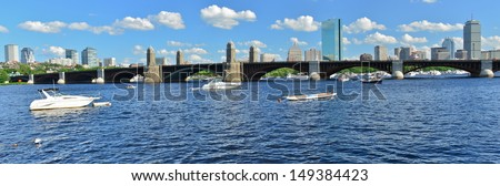 Charles River and Longfellow Bridge, Boston, Massachusetts, USA - stock photo