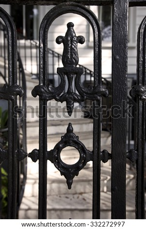 Charleston, South Carolina is know for its intricate, historical wrought iron. - stock photo