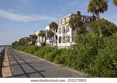 CHARLESTON, SOUTH CAROLINA  - SEPTEMBER 11, 2015:  The waterfront Battery area in Charleston, South Carolina is popular for recreational activity. - stock photo