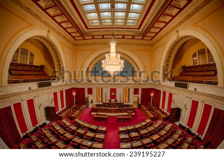 CHARLESTON, WEST VIRGINIA - DECEMBER 18: House of Representatives chamber from the balcony of the West Virginia State Capitol on December 18, 2014 in Charleston, West Virginia - stock photo