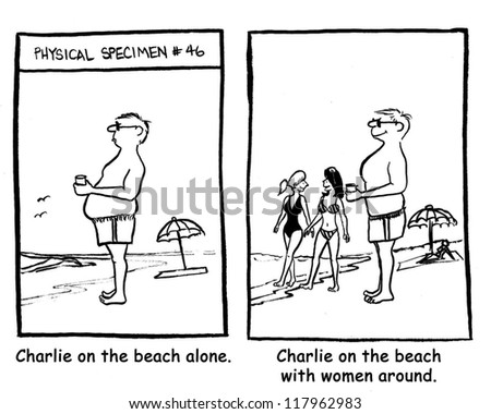 Charlie on the beach with women around. - stock photo