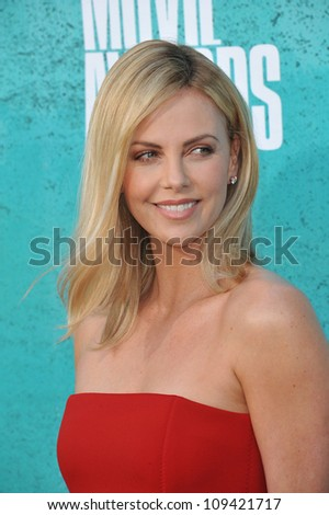 Charlize Theron at the 2012 MTV Movie Awards at Universal Studios, Hollywood. June 4, 2012  Los Angeles, CA Picture: Paul Smith / Featureflash - stock photo