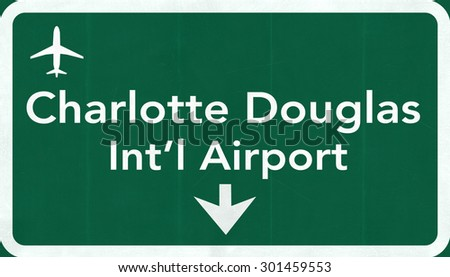 Charlotte Douglas USA International Airport Highway Road Sign 2D Illustration Texture, background, element - stock photo
