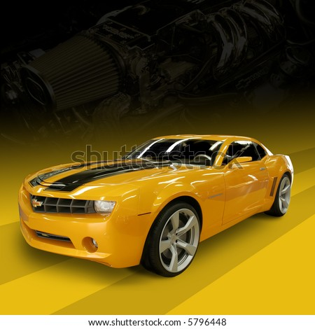 CHARLOTTE, NC - APRIL 6, 2008: Lowes Motor Speedway.2007 Chevy Camaro - From the movie Transformers - Autobot Bumble Bee at Lowes Motor Speedway, April 6, 2008 in Charlotte, North Carolina. - stock photo