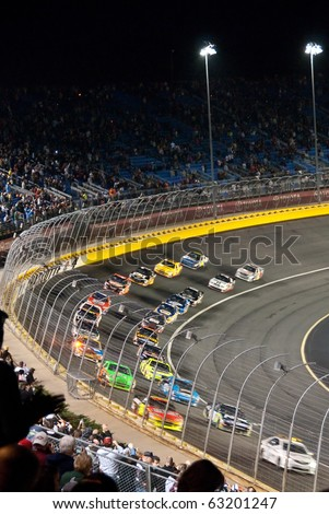 CHARLOTTE, NC, USA - OCTOBER 16: The Bank of America 500 Nascar race was won by McMurray on October 16, 2010 in Charlotte, NC, USA - stock photo