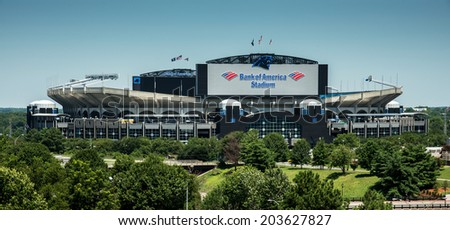 CHARLOTTE, NORTH CAROLINA - JULY 5, 2014:  View of the newly renovated Bank of America Stadium, home of the Carolina Panthers football team. - stock photo
