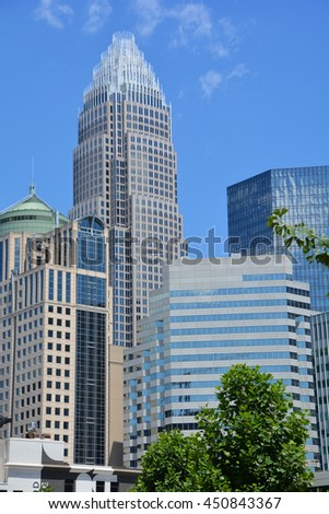 CHARLOTTE NORTH CAROLINA JUNE 22 2916: Bank of America Corporate Center building and downtown Charlotte is the largest city in the state of North Carolina. It is the county seat of Mecklenburg County - stock photo