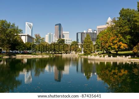 Charlotte, North Caroline city skyline in early fall - stock photo