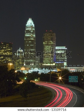 Charlotte Skyline at night - stock photo