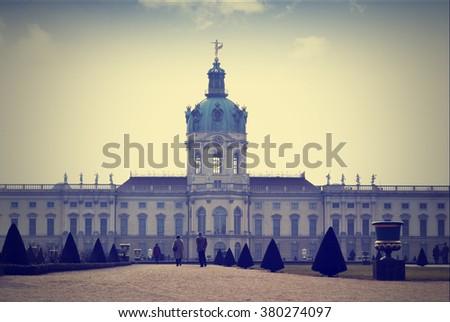 Charlottenburg palace in Berlin - retro picture - stock photo