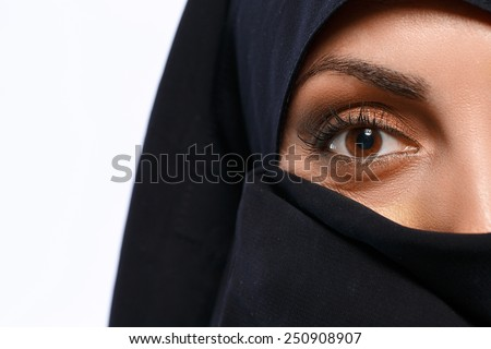 Charm and beauty of the East. Closeup image of beautiful young Muslim woman in chador covering her face and looking at camera isolated on grey background - stock photo