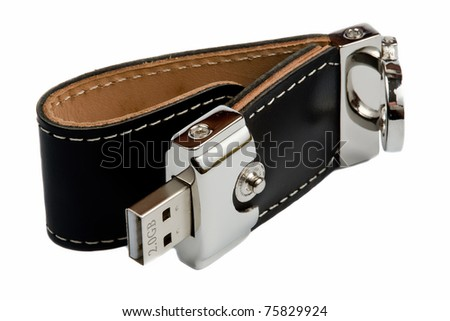 Charm for keys with USB flash drive - stock photo