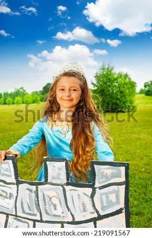 Charming beautiful girl in princess costume - stock photo