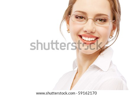 Charming business woman smiles, isolated on white background. - stock photo