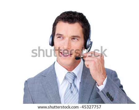 Charming caucasian businessman using headset against a white background - stock photo