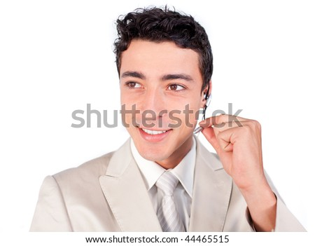 Charming customer service representative using headset against a white background - stock photo