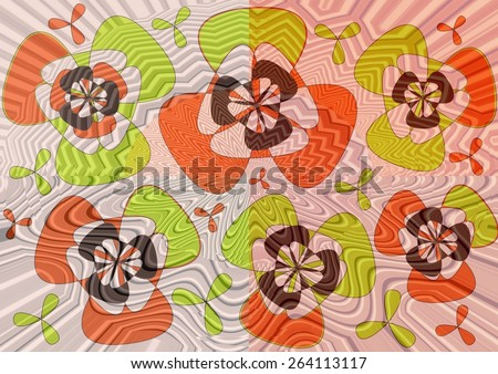 Charming distinctive    modern abstract design with floral and geometric   motifs in two picture format superimposed  on  a textured  pattern   background ideal for classic wallpapers and backgrounds. - stock photo