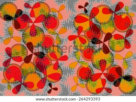 Charming distinctive    modern abstract design with geometric and floral   motifs in two picture format superimposed  on  a textured  grungy background ideal for classic wallpapers and backgrounds. - stock photo