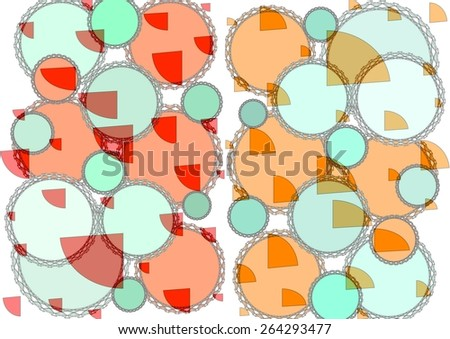 Charming distinctive    modern abstract design with  geometric   motifs in two picture format superimposed  on  a textured  pattern   background ideal for classic wallpapers and backgrounds. - stock photo