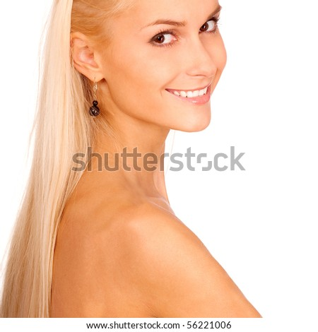 Charming girl has turned back and laughs, it is isolated on white background. - stock photo