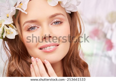 Charming girl with spring makeup - stock photo