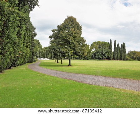 Charming green glade in a park-garden Sigurta in northern Italy. - stock photo
