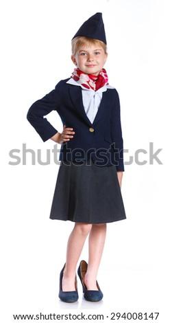 Charming Little Stewardess Dressed In Blue Uniform. Isolated On White Background - stock photo